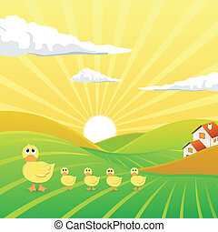 Vector Landscape with Chicks