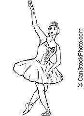 ballet-dancer of ballet dances dance of swan - a sketch the...