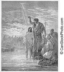 The Baptism of Jesus - Picture from The Holy Scriptures, Old...
