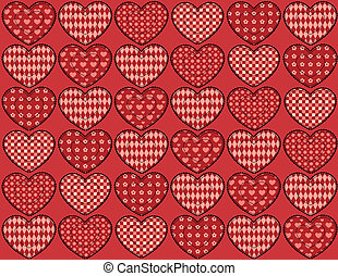 Quilt hearts seamless pattern.