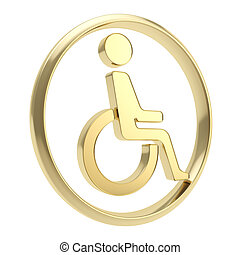 Disabled handicapped person icon emblem isolated - Disabled...