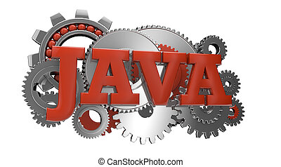 java - render of gears and the text java