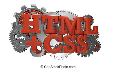 html and css - render of gears and the text html and css