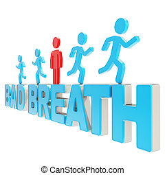 Human running symbolic figures over the words Bad Breath -...