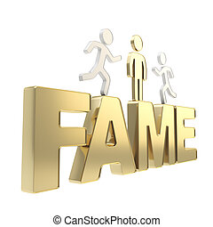 Human running symbolic figures over the word Fame - Fame...