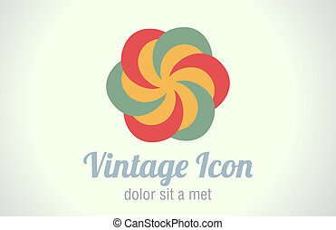 Vintage rertro abstract icon