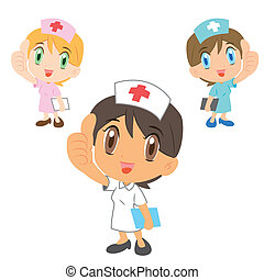 caricatura, enfermeras, pulgar, Arriba