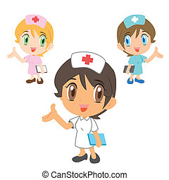 nurse ,cartoon character - commentary by a cute nurse, three...