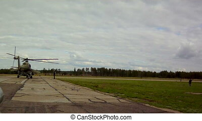Runway in military airfield at cloudy day - View of runway...