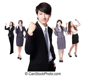 Successful excited Business man smile hold fist with young...