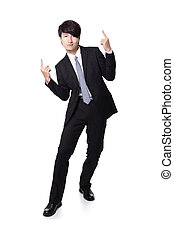 business man enjoying success and raise arms - Portrait of a...