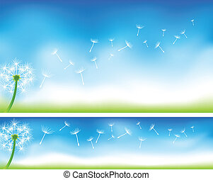 Dandelion Banners - Dandelion banners EPS 10 with Gradient...