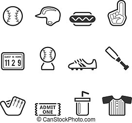 Single Color Icons - Baseball - Baseball related icons in...