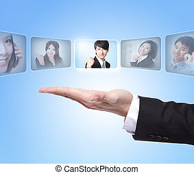 Human Resources concept: business man hand choosing perfect...