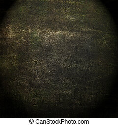 Abstract black background or paper with bright center spotlight and dark border frame with grunge background texture