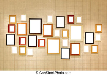 Photo art gallery on the wall