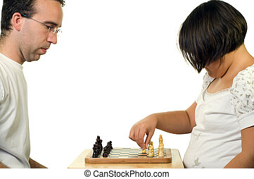 Father Daughter Playing Chess