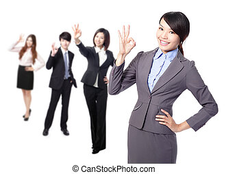 business woman making the ok sign - Perfect - business woman...