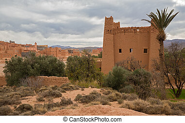 Morocco Kasbah - view of Morocco Kasbah over cloudy sky and...