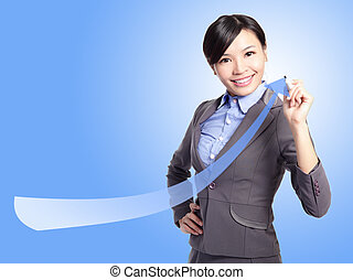 success business woman draw arrow with blue background,...
