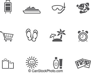 Single Color Icons - More Travel - Travel icon set in single...