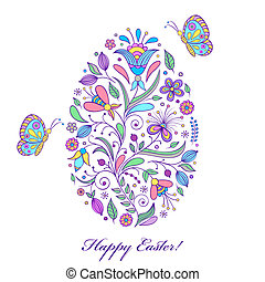floral easter egg on white background - Vector illustration...