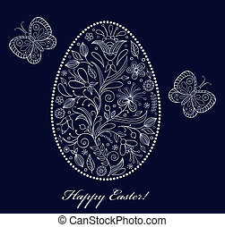 floral easter egg on dark background - Vector illustration...