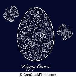 floral easter egg on dark background - Vector illustration...