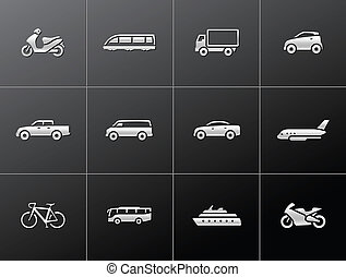 -, metallisk, transport, ikonen
