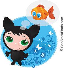 Cute funny kitten vector illustration