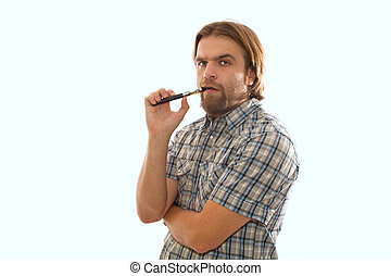 the man with the e-cigarette - bearded man smoking an...