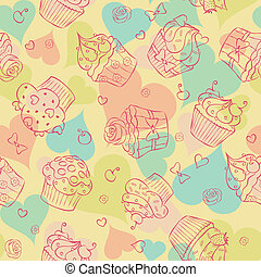 Love and sweetness - Seamless pattern made of cupcakes and...