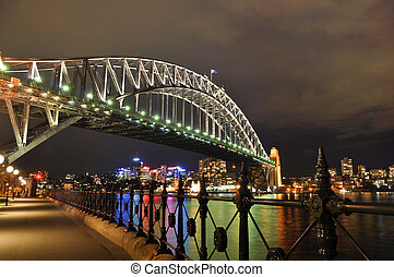 Sydney Harbour Bridge from the Southern Bank at Night