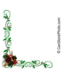 Christmas Border Corner design - Illustrated Background,...