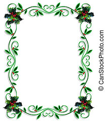 Christmas Border Frame - Illustrated Background, border or...