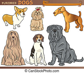 purebred dogs cartoon illustration set - Cartoon Comic...