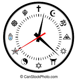 religions clock - very big size major world religions clock