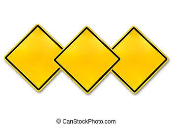 Blank yellow road warning sign