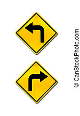 right turn and left turn road signs