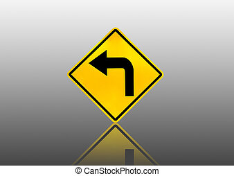 Signs and turn left