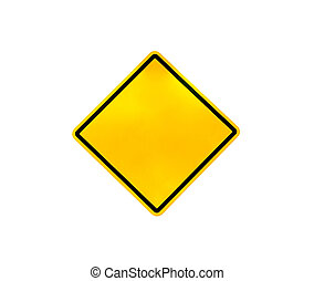 Blank yellow road warning sign