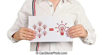 business formula - sman holding a placard with business...