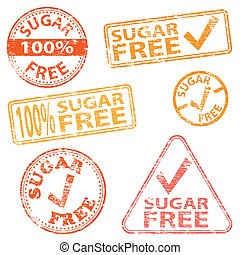 Sugar Free Stamps - Sugar free food Rubber stamp vector...