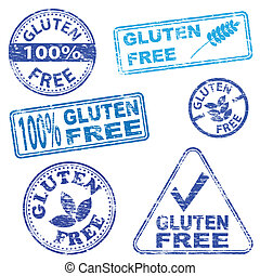 Gluten Free Stamps - Gluten free food. Rubber stamp vector...