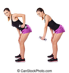 Woman working out with dumbbells shown in two positions...