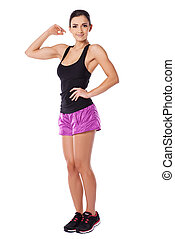 Woman showing off her biceps - Attractive fit athletic young...