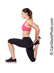 Woman doing a workout - Woman athlete doing a workout...