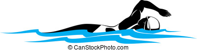 Girl Freestyle Swimmer - Vector illustration of a woman...