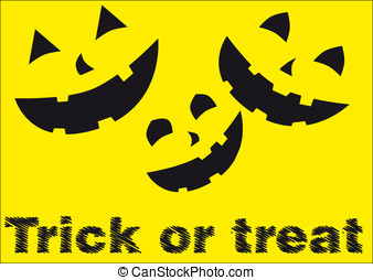 Trick or treat - Halloween poster. Character are isolated...