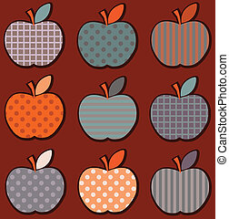 Cotton apples - Set cute bright colorful apple pattern in...